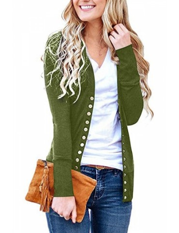 Cozy Long Sleeve Cardigan Sweater Green