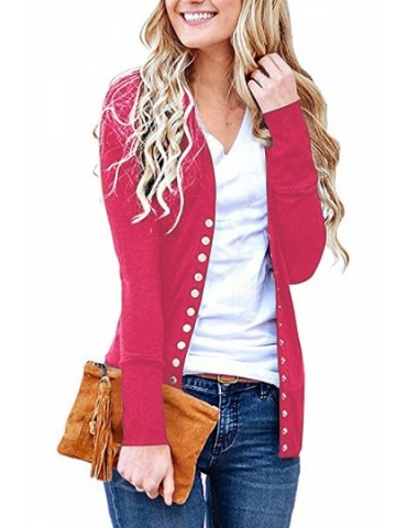 Casual Long Sleeve Cardigan With Button Pink