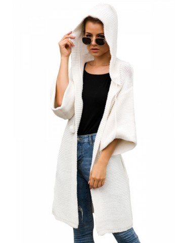 Drop Shoulder Hooded Cardigan White