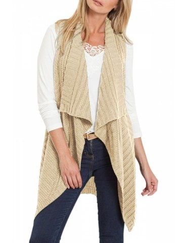 Lapel Neck Vest Cardigan With Pocket Apricot