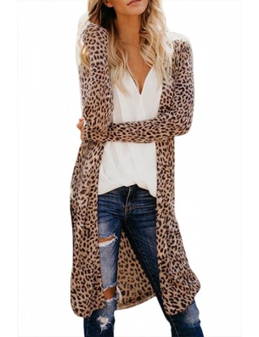 Leopard Print Cardigan Open Front Brown