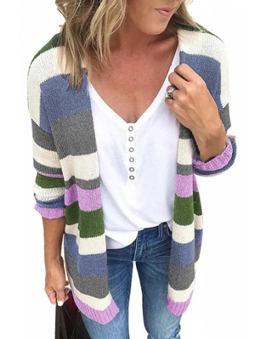 Drop Shoulder Cardigan Long Sleeve Green