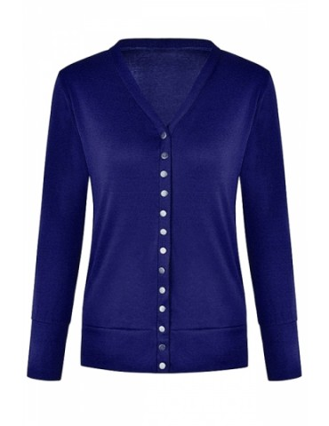 Button Down Cardigan Plain Sapphire Blue