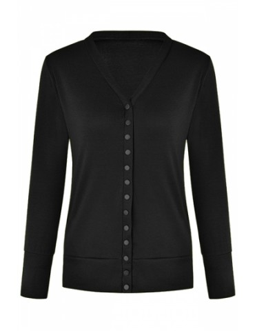 Classic Knit Cardigan V Neck Black