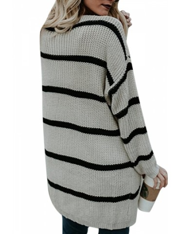 Fashion Long Sleeve Front Pocket Loose Striped Cardigan Apricot