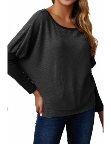 Dolman Sleeve Sweater Rib Knit Black
