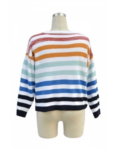 Drop Shoulder Color Striped Long Sleeve Sweater Blue