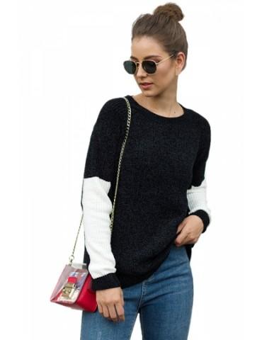 Crew Neck Sweater Color Block Black