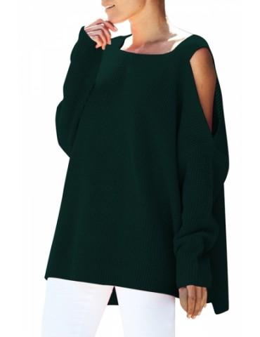 Cold Shoulder Plain Loose Square Neck Sweater Dark Green