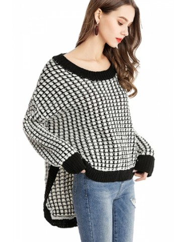 Crew Neck Long Sleeve Drop Shoulder High Low Loose Knit Sweater