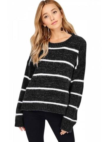 Crew Neck Long Sleeve Striped Sweater Black