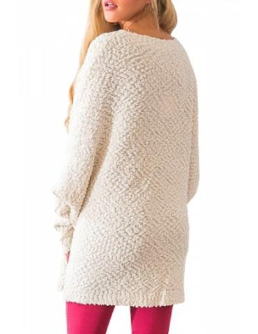 Dolman Sleeve Pocket Sweater Beige White
