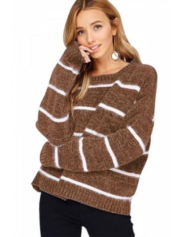 Crew Neck Striped Long Sleeve Sweater Chestnut