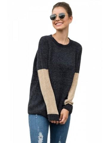 Color Block Sweater With Crew Neck Khaki