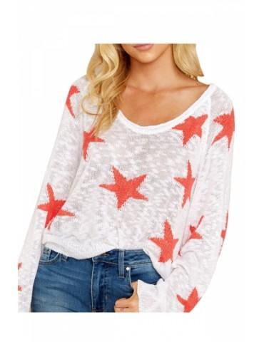 Crew Neck Star Print Loose Sweater White