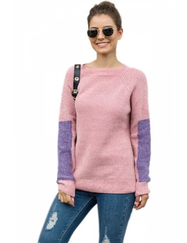 Color Block Pullover Sweater Pink