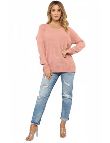 Cut Out Plain Drop Shoulder V Neck Sweater Pink