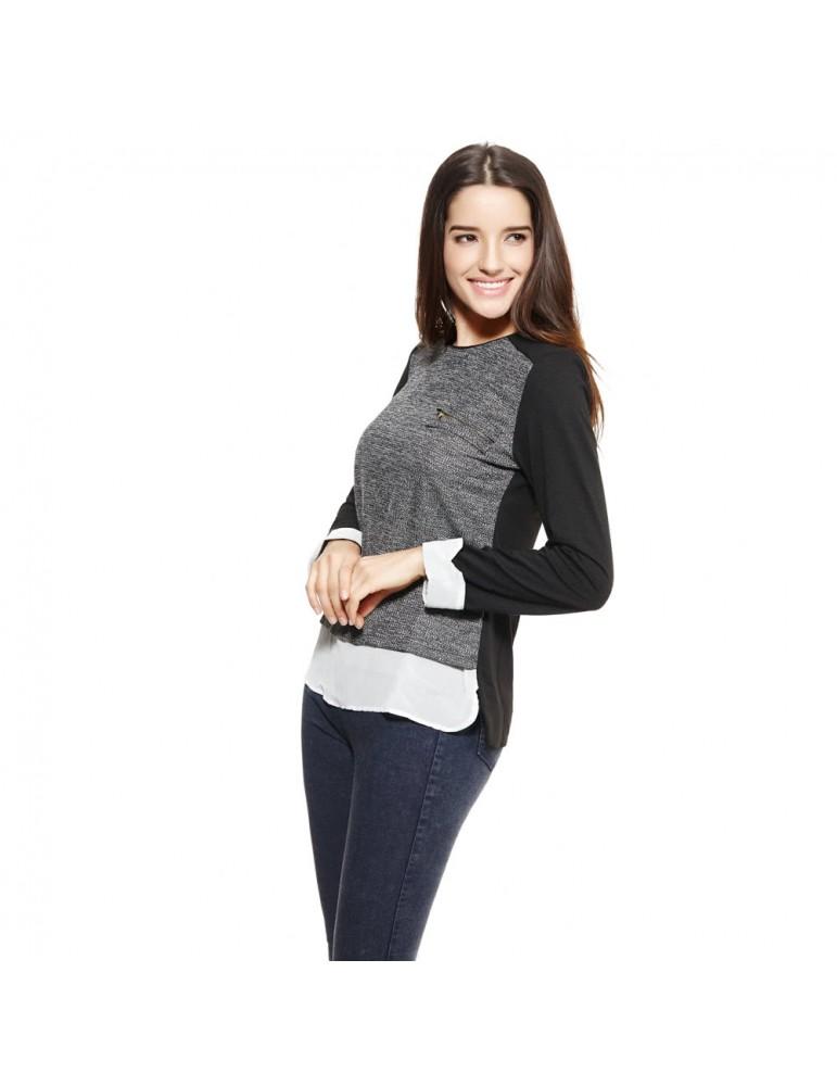 Anself Fashion Women Tops Chiffon Patchwork Pocket Long Sleeve Elegant Pullover Blouse