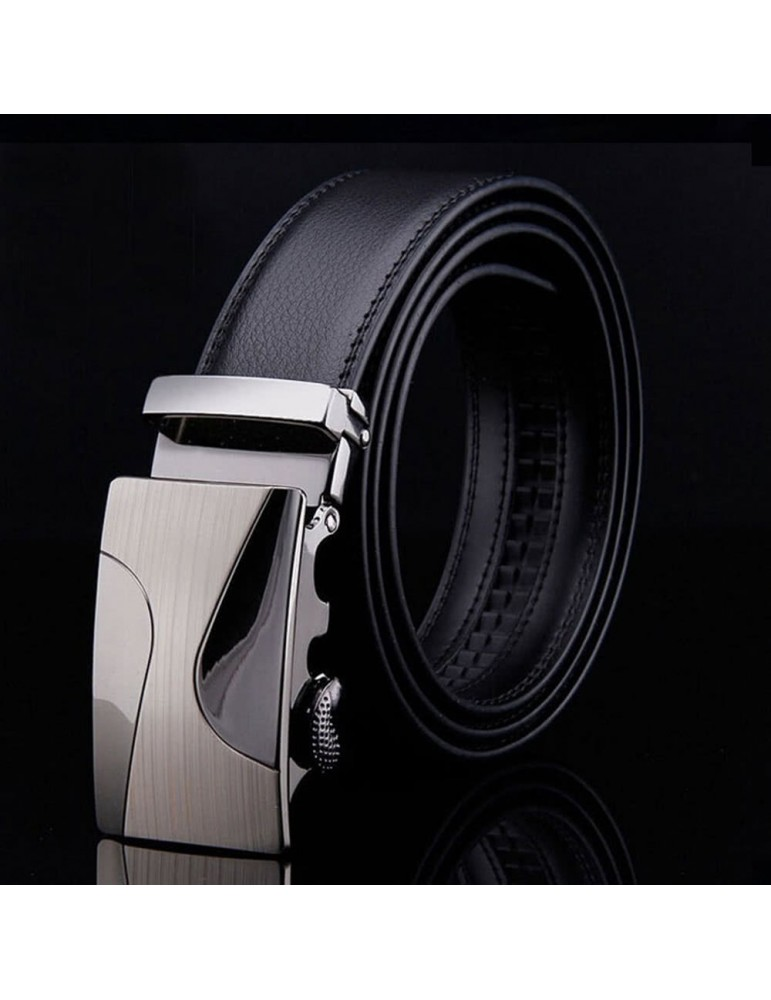 Fashion Modern Design Leather Strap Belt Business Casual Zinc Alloy Automatic Metal Two Semiarc High Class Buckle Male Trousers Leisure Waistband for Men Girdle