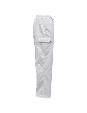 Chef Pants 2 pcs Stretchable Waistband with Cord Size L White