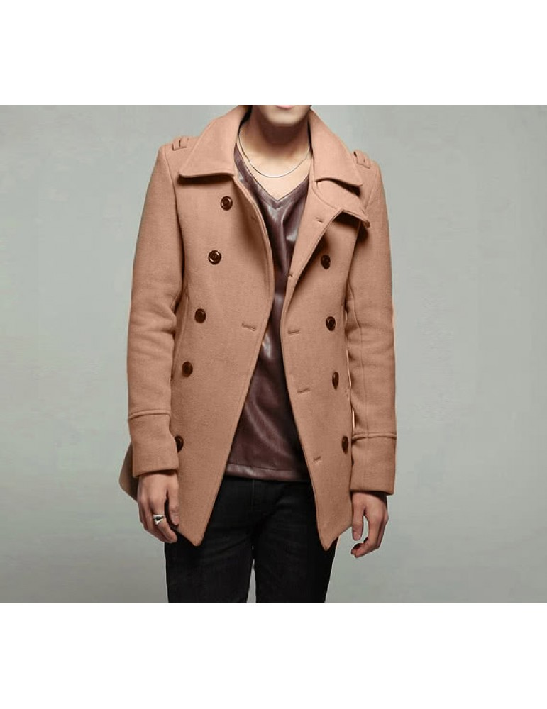 Abody Men's Stylish Double Breasted Trench Coat Jacket Outwear