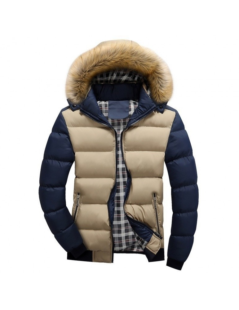 2017 men's winter feathers cotton clothes Slim youth casual hooded cotton jacket Khaki & Blue M