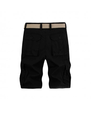 Casual Solid Multi-Pocket Military Army Style Cargo Bermudas Shorts for Men