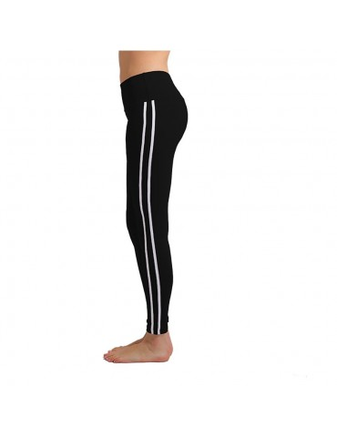 CK2177 Women Strip Yoga Pants High-waist Leggings Size L - Black