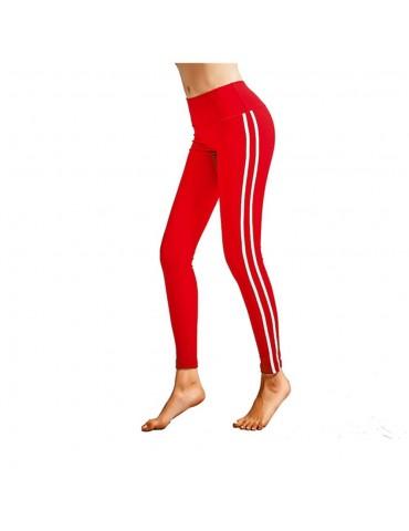 CK2177 Women Strip Yoga Pants High-waist Leggings Size S - Red