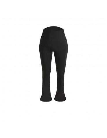 CK2218 Women Sports Fitness Yoga Pants Dance Practice Micro Horn Trousers Size L - Black
