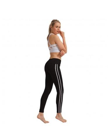 CK2177 Women Strip Yoga Pants High-waist Leggings Size S - Black