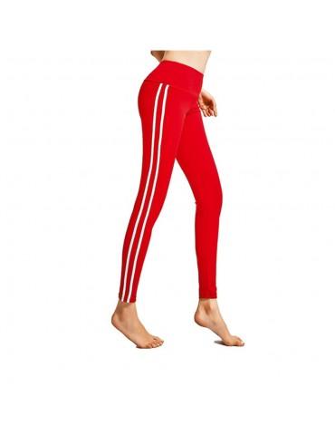 CK2177 Women Strip Yoga Pants High-waist Leggings Size M - Red