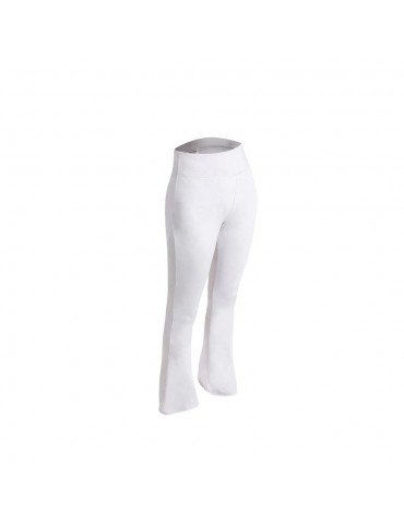 CK2218 Women Sports Fitness Yoga Pants Dance Practice Micro Horn Trousers Size 2XL - White