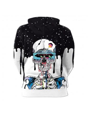 3D Digital Printed Halloween Series Skeleton Pattern Unisex Long Sleeve Pullover Hoodie Size 2XL - Multi-color