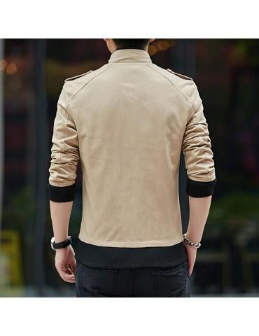CA9801 Men's Autumn Winter Classic Casual Jacket (Lapel Grid Long Sleeve Polyester Jacket Size 3XL) - Khaki