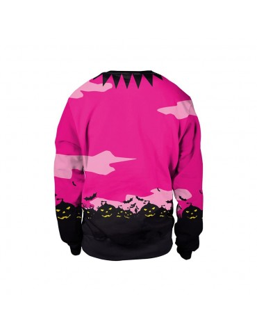 3D Digital Printed Halloween Series Pumpkin Night Pattern Unisex Long Sleeve Crew Neck Sweatshirt Size L - Rose Red