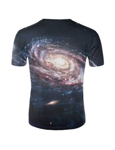 3D Printed Cosmic Nebula Men's Summer Unisex Short Sleeve T-shirt Size M - Black
