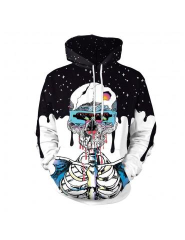 3D Digital Printed Halloween Series Skeleton Pattern Unisex Long Sleeve Pullover Hoodie Size L - Multi-color