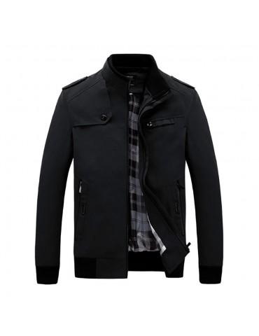 CA9801 Men's Autumn Winter Classic Casual Jacket (Lapel Grid Long Sleeve Polyester Jacket Size M) - Black