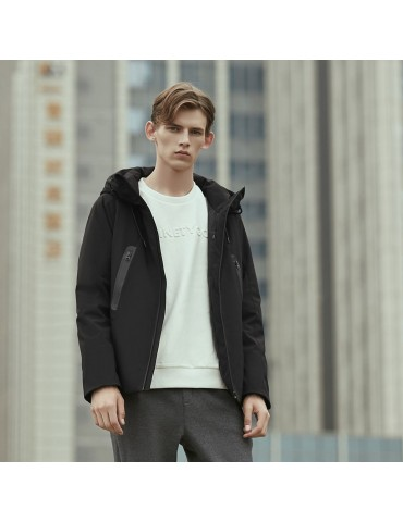 90FUN Smart Temperature Control Down Jacket Goose Feather Fast Heating Coat Waterproof Washable Size M From Xiaomi Youpin - Black