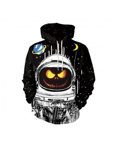 3D Digital Printed Halloween Series Pumpkin Astronaut Pattern Unisex Long Sleeve Pullover Hoodie Size L - Black