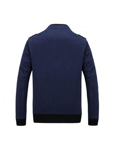 CA9801 Men's Autumn Winter Classic Casual Jacket (Lapel Grid Long Sleeve Polyester Jacket Size 2XL) - Dark Blue
