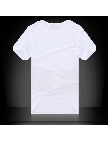 YJ01 Men 3D Printed T-shirt Short Sleeve Round Neck Tops Size L - White