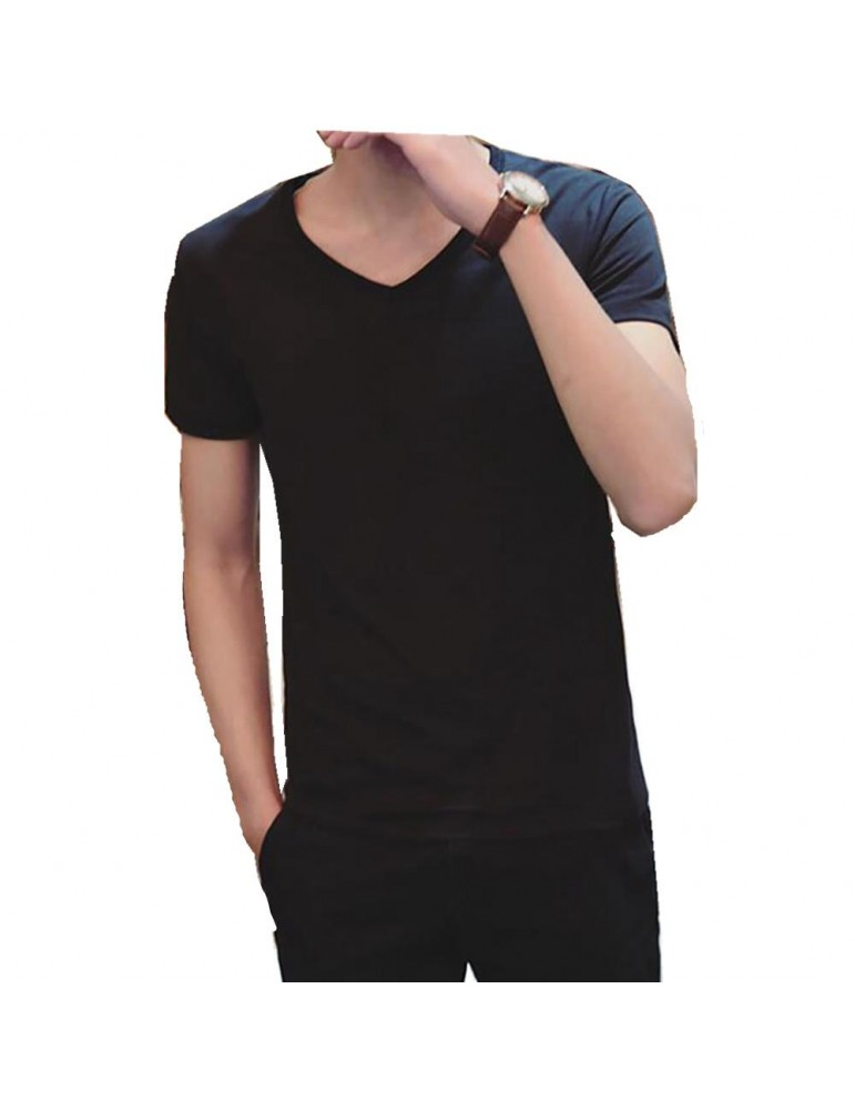 Men's Basic V-neck Short Sleeve T-shirt (Personality Tee Cultivating Size L) - Black