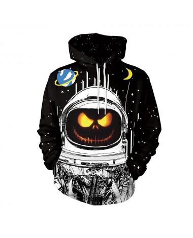 3D Digital Printed Halloween Series Pumpkin Astronaut Pattern Unisex Long Sleeve Pullover Hoodie Size 2XL - Black
