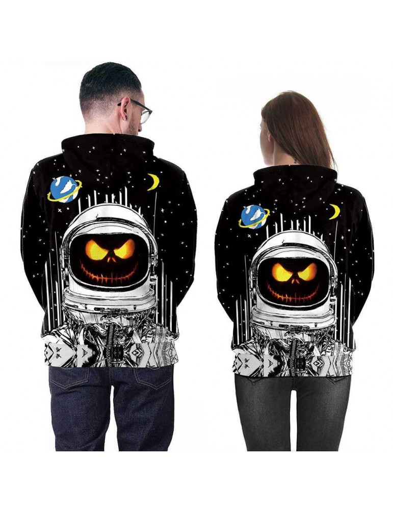3D Digital Printed Halloween Series Pumpkin Astronaut Pattern Unisex Long Sleeve Pullover Hoodie Size 2XL - Black