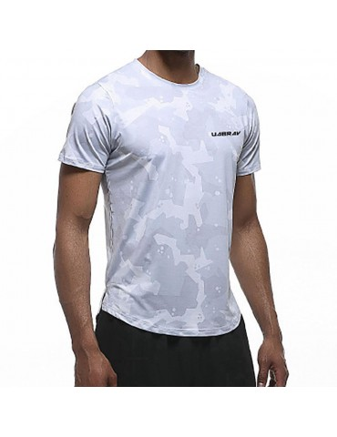 AK22 Men Fitness Sports Round Neck Tops Short Sleeve T-shirts Size L - Grey