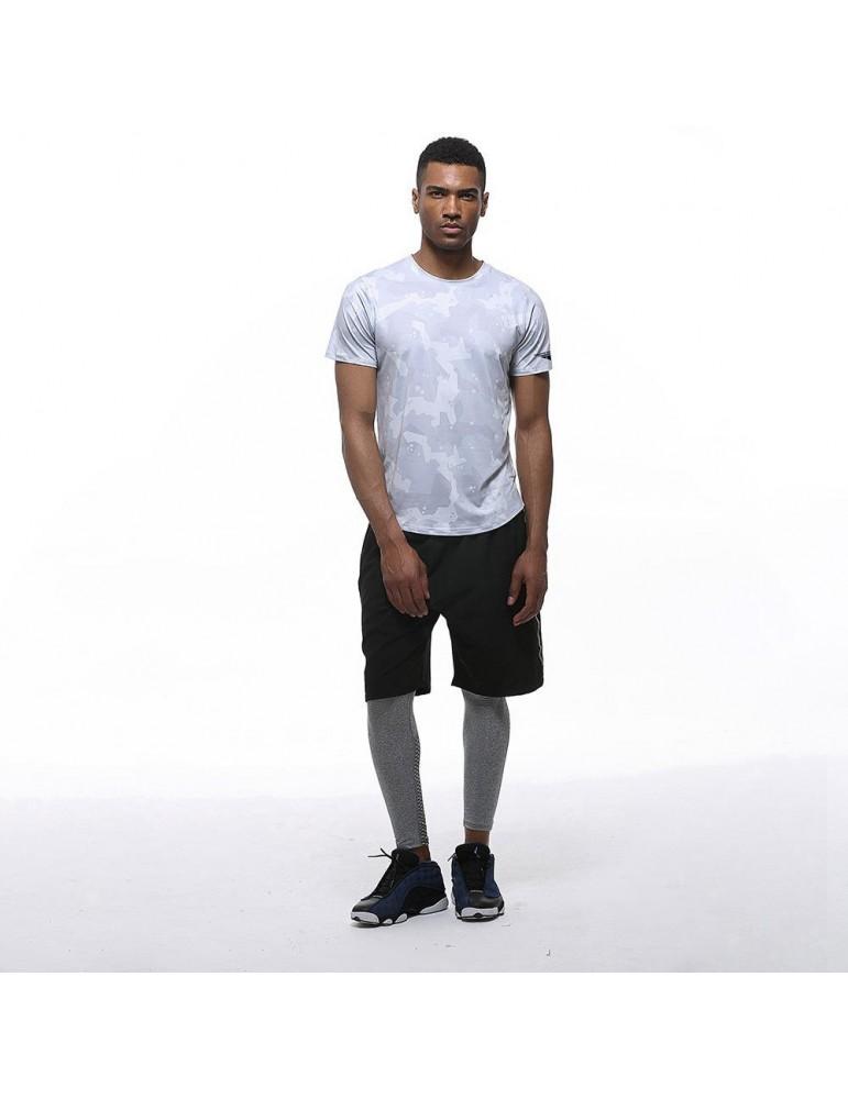 AK22 Men Fitness Sports Round Neck Tops Short Sleeve T-shirts Size L - Grey