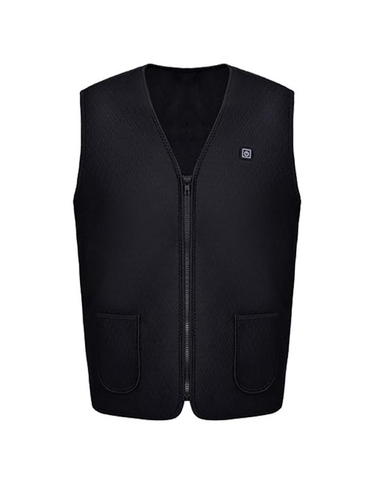 Electric Heated Vest Washable Adjustable USB Charging Heating Clothing Size L - Black