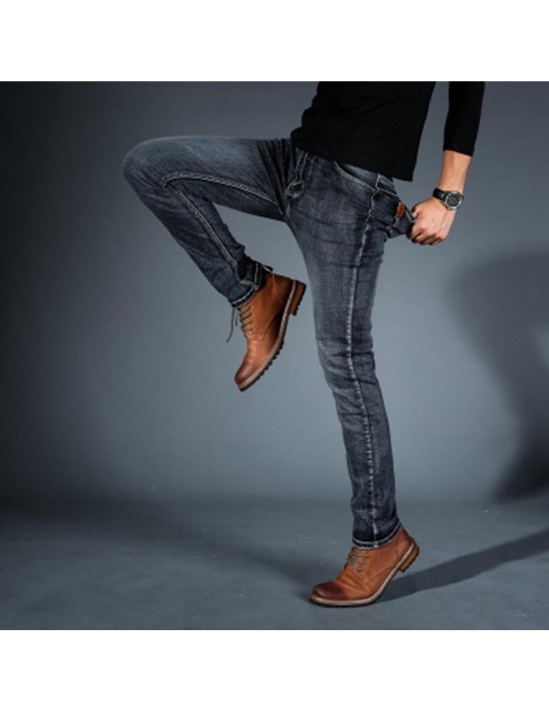 TL86 Men Elastic Jeans Straight Slim Long Pants Size 32 - Black